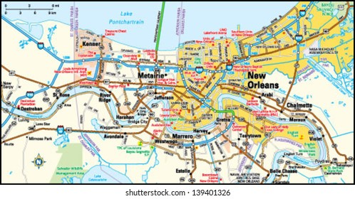New Orleans, Louisiana area map