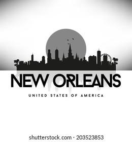 New Orleans Louisiana Black skyline silhouette vector design.