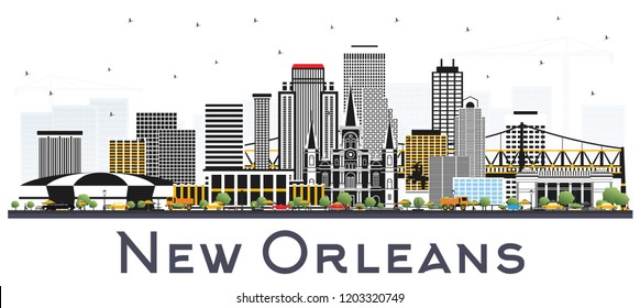 New Orleans Louisiana City Skyline with Gray Buildings Isolated on White. Vector Illustration. Business Travel and Tourism Concept with Modern Architecture. New Orleans USA Cityscape with Landmarks.