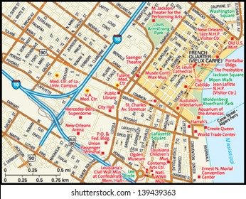 New Orleans, Louisiana downtown map