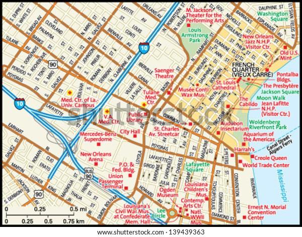 New Orleans Louisiana Downtown Map Stock-Vrgrafik (Lizenzfrei ... on