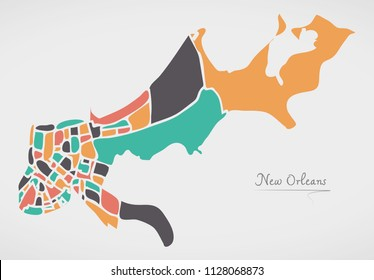 New Orleans Louisiana Map with neighborhoods and modern round shapes
