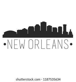 New Orleans Louisiana Skyline Silhouette City Design Vector Famous Monuments
