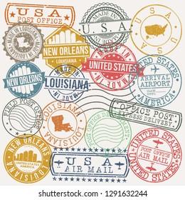 New Orleans Louisiana. Stamp. Vector Art. Postal Passport. Travel Design Set. Postage.
