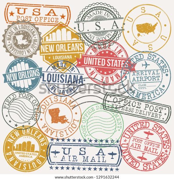 Passport New Orleans >> New Orleans Louisiana Stamp Vector Art Buildings Landmarks