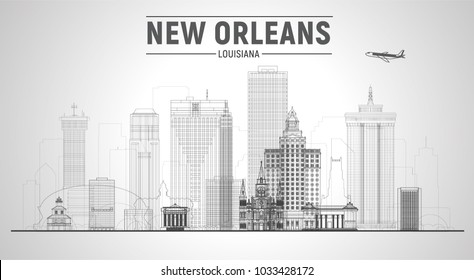 New Orleans Louisiana united states line city skyline vector illustration on white background. Business travel and tourism concept with modern buildings. Image for presentation, banner, web site.