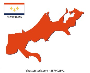 new orleans map with flag