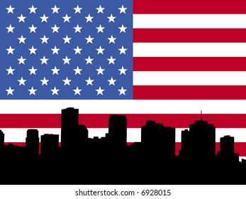 New Orleans skyline with American flag