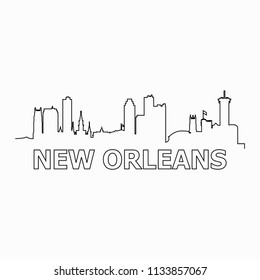 New Orleans skyline and landmarks silhouette black vector icon. New Orleans panorama. United States of America. USA