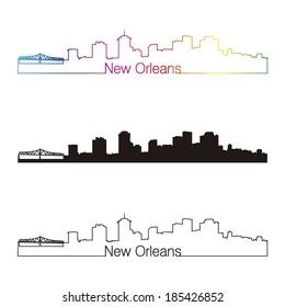 New Orleans skyline linear style with rainbow in editable vector file