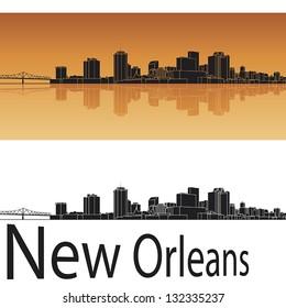 New Orleans skyline in orange background in editable vector file