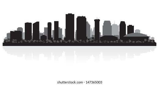 New Orleans USA city skyline silhouette vector illustration