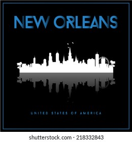 New Orleans, USA skyline silhouette vector design on black background.