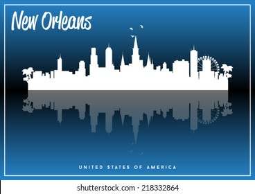 New Orleans, USA skyline silhouette vector design on parliament blue background.