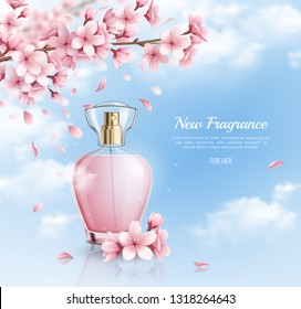 New perfume with sakura fragrance realistic background vector illustration