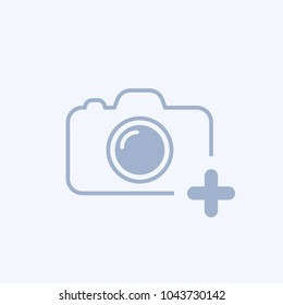 New photo icon. Camera icon with add sign. Camera icon and new, plus, positive concept. Vector icon