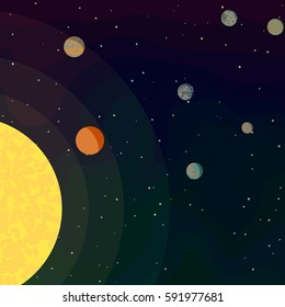 New planets found in another solar system in space. Several planets revolving around stars. Life in galaxy. Cartoon vector illustration on theme of space.
