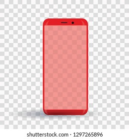 New popular red smartphone on transparent background.