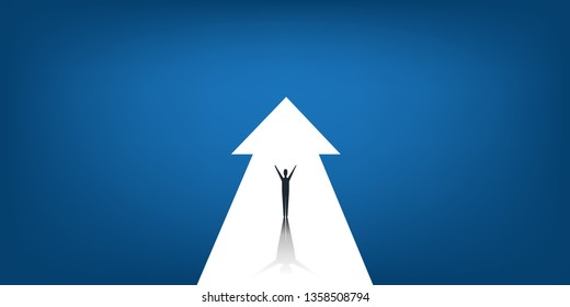 New Possibilities, Hope, Dreams - Business, Solutions Finding Concept - Man Standing on a Big Up Arrow at End of the Road