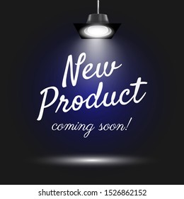 New Product Coming Soon poster background design with spotlights. Eps10 vector illustration