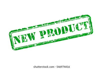 New product green rubber stamp vector illustration. Contains original brushes