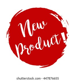 New product grunge style red colored on white background