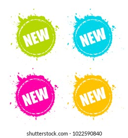 New product promotion splattered icon set illustration isolated on white background