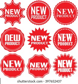 New product red label. New product red sign. New product red banner. Vector illustration