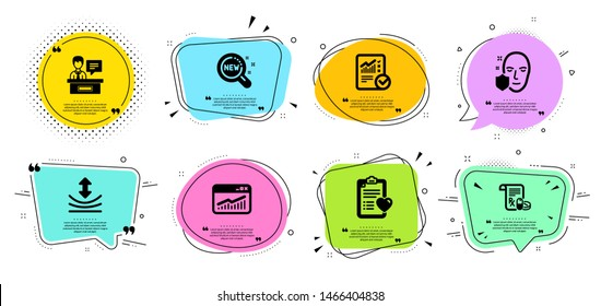 New products, Patient history and Medical prescription line icons set. Chat bubbles with quotes. Resilience, Website statistics and Face protection signs. Vector