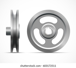 A new pulley on a white background. Metallic sheave. Vector illustration.
