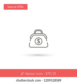New Purse vector icon. Modern, simple, isolated, flat best quality icon for web site designs or mobile apps. Vector illustration EPS 10.