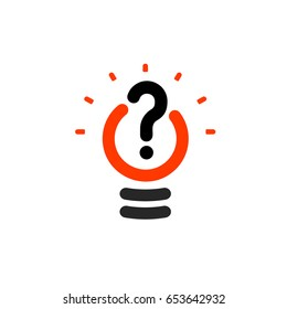 New question mark symbol, flat bright cartoon bulb. White and orange colors sign. Stylized vector lightbulb colorful logotype. Query icon, circle line, outline, linear logo