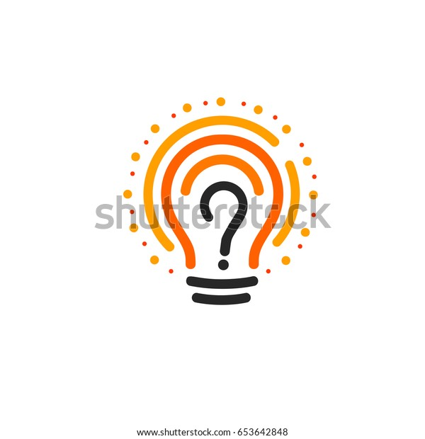 New question mark symbol, flat bright cartoon bulb. White and orange colors sign. Stylized vector lightbulb colorful logotype. Query icon, circle line logo
