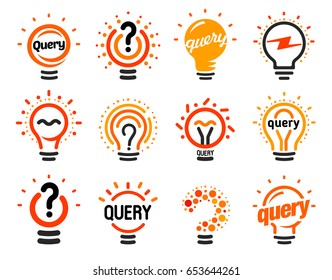 New question mark symbols, flat bright cartoon bulbs. White and orange colors sign. Stylized set of vector lightbulbs, collection colorful logotypes. Query icon, circle logo