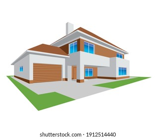 New realistic family cottage. 3D House Icon, isolated on white background. Illustration Vector