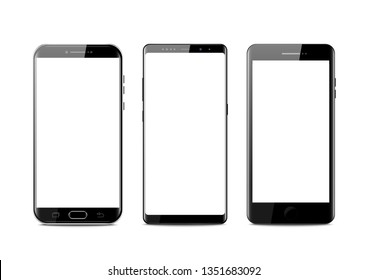 New realistic mobile black smartphone modern style. Vector smartphone isolated on white background. set of vector mockups.