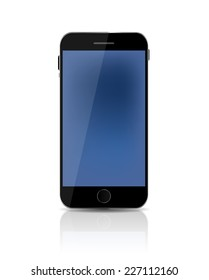 New Realistic Mobile Phone With Blue Screen. Vector Illustration. EPS10