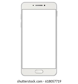 New realistic mobile smartphone. Realistic white smartphone isolated on white.  Mobile phone mockup with blank screen isolated on white background