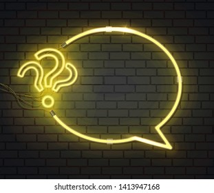 New Realistic neon sign of Quiz frame logo for template decoration and covering on the dark wall background. Vector EPS 10
