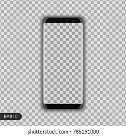 New Realistic Smartphone Device Isolated on Transparent Background. Latest frameless phone design. Gadget render with reflection. Mobile concept. Black device. Vector Illustration. EPS 10.