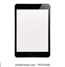 New Realistic Tablet PC Computer with Blank Screen Isolated on White Background. Can Use for Template, Project, Presentation or Banner. iPad. Electronic Gadget, Device Set Mock Up. Vector Illustration