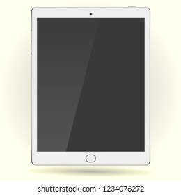 New Realistic White ipad Tablet PC Computer with blank Screen Isolated on background. Vector Illustration.