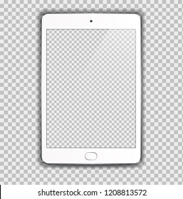 New Realistic White Tablet PC Computer with blank Screen Isolated on transparent. Can Use for Template, Project, Presentation or Banner. Electronic Gadget, Device Set Mock Up. Vector Illustration