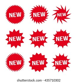 new red button and white text icon signs set vector