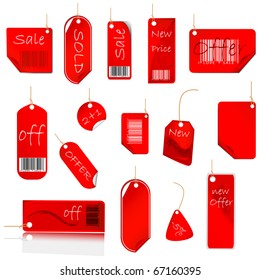 New Red Price Tag Set. Vector Illustration