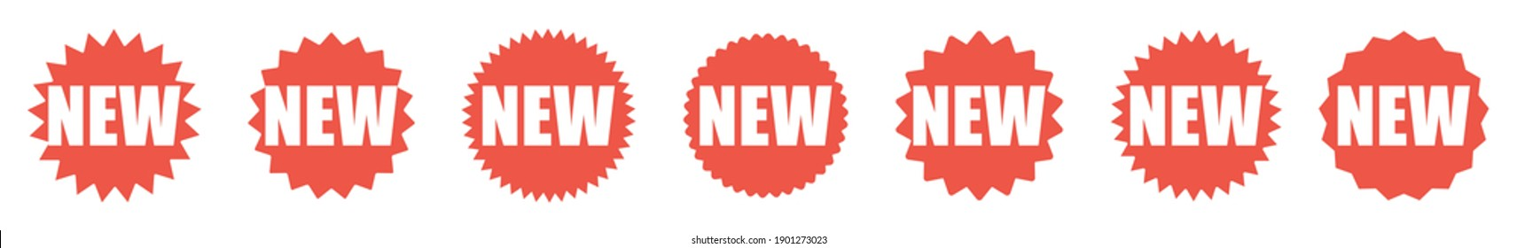 New red tag. New label sticker on white background. Special offer, discount, promotion icons set. Vector illustration.