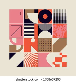 New retro aesthetics in abstract pattern design composition. Art deco inspired vector graphics collage made with simple geometric shapes and grunge textures, useful for poster art and digital prints.
