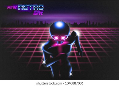 New Retro Wave illustration of running robot