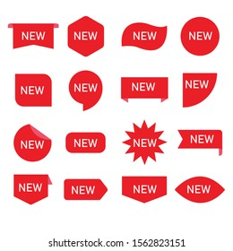 New ribbons. Product stickers with offer. Vector illustration isolated on white background.