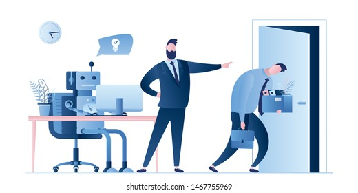 New robot on workplace and businessman dismissed man worker.Boss fire male employee.Business people characters and signs in trendy style.Artificial intelligence replaced human.Flat vector illustration